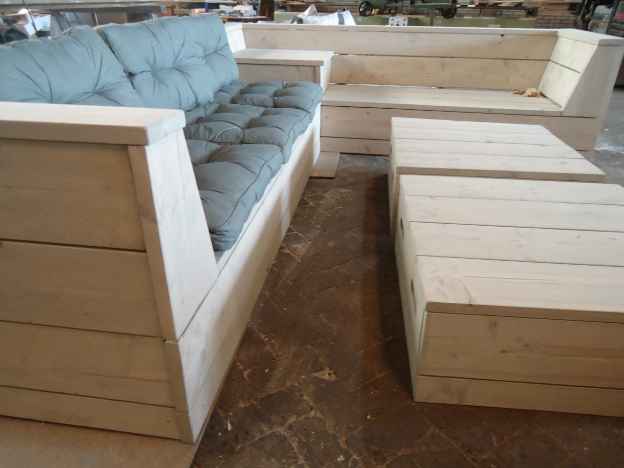 Loungebank hoekbank van steigerhout voor buiten lounge