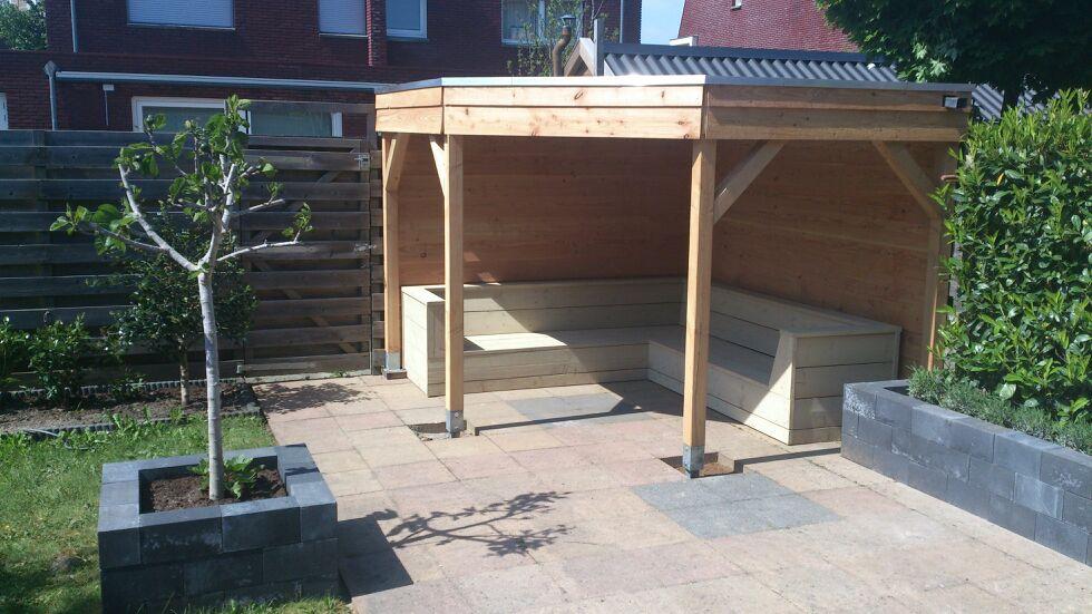 Hoekbank hout buiten sens line tuinset vierkante tafel hoekbank tuinmeubels maak de bank - Bank voor pergola ...