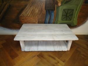 Salontafel gekalkte steigerplanken meubelmaker