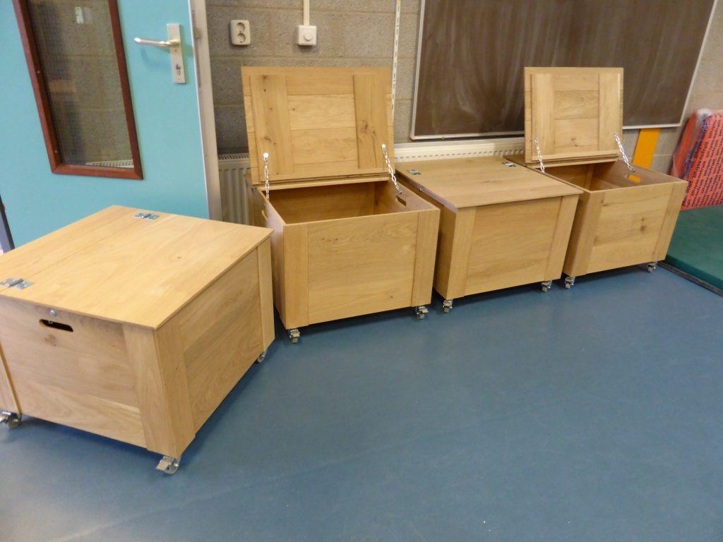 4 eiken houten opbergkisten